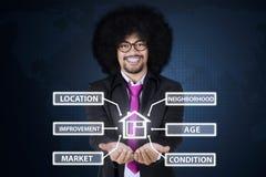 Homme d'affaires d'Afro montrant des icônes de valeur d'une propriété photos stock