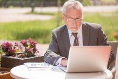 Homme d'affaires agréable utilisant l'ordinateur portable photo libre de droits