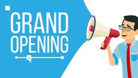 Homme d'affaires Announce Concept Vector Conception criarde de bannière d'annonce Homme avec le mégaphone Ouverture grande Recher illustration stock