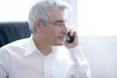 homme d'affaires appelle l'aîné gris de téléphone de cheveu Photos stock