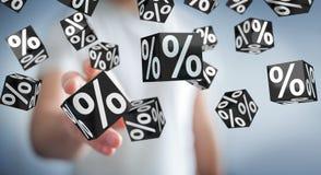 Homme d'affaires appréciant le rendu noir des ventes 3D de vendredi Photo stock