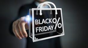 Homme d'affaires appréciant le rendu noir des ventes 3D de vendredi Photo libre de droits