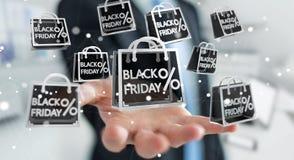 Homme d'affaires appréciant le rendu noir des ventes 3D de vendredi Photographie stock