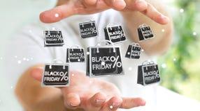 Homme d'affaires appréciant le rendu noir des ventes 3D de vendredi Images libres de droits