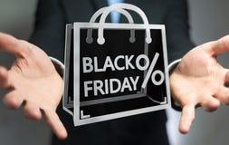 Homme d'affaires appréciant le rendu noir des ventes 3D de vendredi Images stock