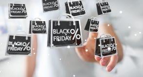 Homme d'affaires appréciant le rendu noir des ventes 3D de vendredi Image libre de droits