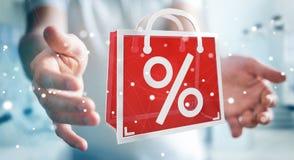 Homme d'affaires appréciant le rendu noir des ventes 3D de vendredi Image stock