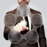 Homme d'affaires appuyant sur le bouton Photo libre de droits