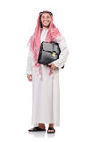 Homme d'affaires arabe avec la serviette d'isolement Photos stock