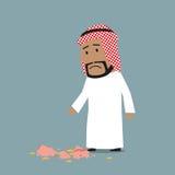 Homme d'affaires arabe avec la tirelire cassée illustration de vecteur