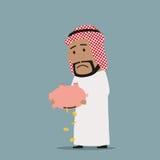 Homme d'affaires Arabe avec la tirelire vide illustration de vecteur