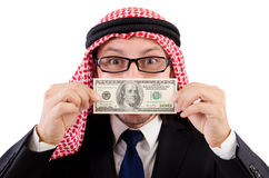 Homme d'affaires arabe avec le dollar d'isolement Photo stock
