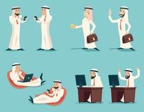 Homme d'affaires arabe réussi Working de rétro vintage illustration libre de droits