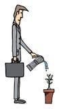 Usine d'arrosage d'homme d'affaires/élevage d'affaires Illustration Stock