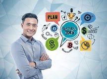 Homme d'affaires asiatique de sourire, idée d'affaires images stock