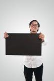 Homme d'affaires asiatique Holding Blackboard images libres de droits