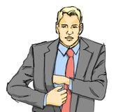 Homme d'affaires atteignant pour le portefeuille illustration libre de droits