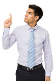 Homme d'affaires attirant Pointing Upwards Photographie stock