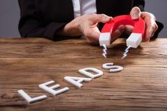 Homme d'affaires Attracting Lead Text avec l'aimant en fer à cheval photos stock