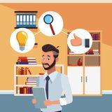 Homme d'affaires au bureau illustration de vecteur