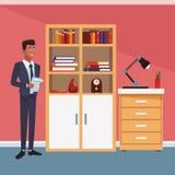 Homme d'affaires au bureau illustration stock