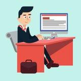 Homme d'affaires au bureau sur le Tableau de travail illustration libre de droits