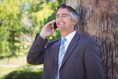 Homme d'affaires au téléphone en parc Images stock