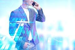 Homme d'affaires au téléphone, graphique illustration libre de droits