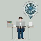 Homme d'affaires au travail créatif Illustration plate de conception illustration stock