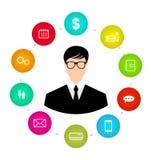 Homme d'affaires autour des réseaux de media d'icônes et de l'identification sociaux d'innovation Photographie stock libre de droits