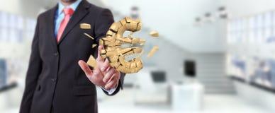 Homme d'affaires avec éclater l'euro rendu de la devise 3D Photo stock