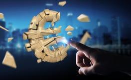 Homme d'affaires avec éclater l'euro rendu de la devise 3D Image libre de droits