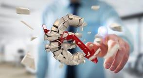 Homme d'affaires avec éclater l'euro rendu de la devise 3D Photographie stock libre de droits