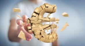Homme d'affaires avec éclater l'euro rendu de la devise 3D Images libres de droits