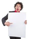 Homme d'affaires avec Afro avec le signe blanc Image stock