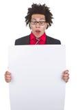 Homme d'affaires avec Afro avec le signe blanc Photo stock