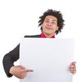 Homme d'affaires avec Afro avec le signe blanc Photographie stock libre de droits