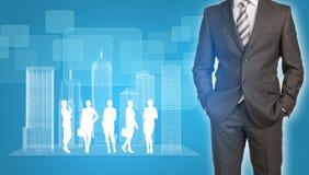 Homme d'affaires avec des bâtiments et des affaires de fil-cadre Photo stock