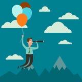 Homme d'affaires avec des ballons à air vers le haut du regard élevé avec le télescope Photographie stock