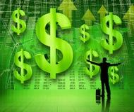 Homme d'affaires avec des bras augmentés regardant la croissance de la devise Photographie stock