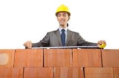 Homme d'affaires avec des briques Image stock