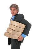 Homme d'affaires avec des cadres d'archives photographie stock