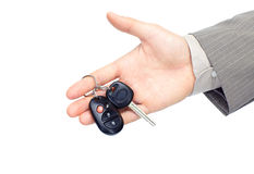 Homme d'affaires avec des clés de véhicule Photographie stock