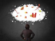 Homme d'affaires avec des diagrammes dans un nuage au-dessus de sa tête photographie stock libre de droits