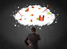 Homme d'affaires avec des diagrammes dans un nuage au-dessus de sa tête photos libres de droits