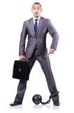 Homme d'affaires avec des dispositifs d'accrochage Image libre de droits
