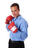 Homme d'affaires avec des gants photos stock