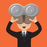 Homme d'affaires avec des jumelles Illustration Libre de Droits