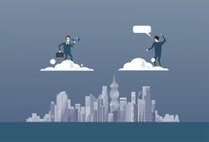 Homme d'affaires avec des jumelles regardant concept réussi d'associé de Partner On Cloud d'homme d'affaires le futur Photographie stock libre de droits
