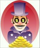 Homme d'affaires avec des pièces d'or illustration de vecteur